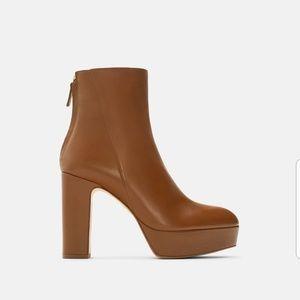 Zara Leather Platform High Heel Ankle Boots